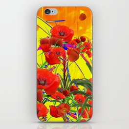 MODERN TROPICAL FLOWERS GARDEN DESIGN IN YELLOW-ORANGE COLORS iPhone Skin