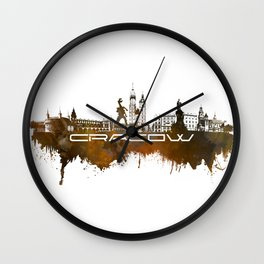 Cracow skyline city brown #cracow #skyline Wall Clock