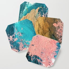 Coral Reef [1]: colorful abstract in blue, teal, gold, and pink Coaster