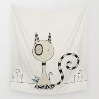 plain Wall Tapestries featuring Shy Cats, plain by Päivi Hintsanen