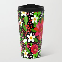 Christmas Flowers and Holly, Poinsettia, Roses and Lilies, holidays, girls floral gift, gift for mom Travel Mug