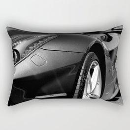 Super Car // Front Wheel Base Low Rims Dark Charcol Gray Black and White Rectangular Pillow