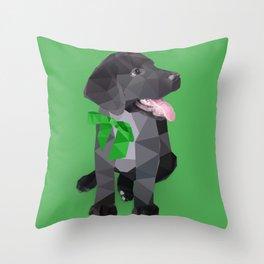 Low Polygon Black Labrador - Green Bow Throw Pillow