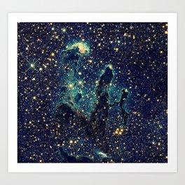 Pillars of Creation GalaxY  Teal Blue & Gold Kunstdrucke