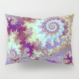 Purple Fractal Sea Horse, Abstract Ocean Waves Swirls Pillow Sham