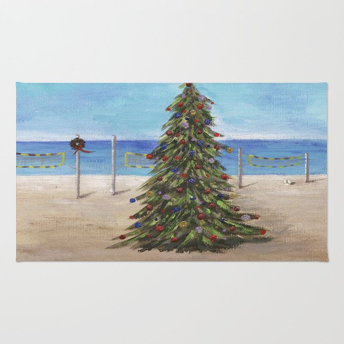 Christmas Tree at the Beach Rug