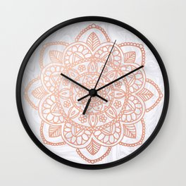 Rose Gold Mandala on White Marble Wall Clock