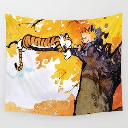 calvin hobbes sleep in tree Wall Tapestry
