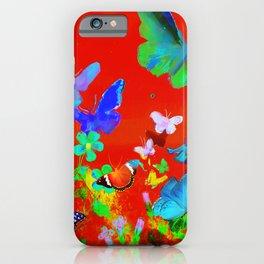 Red Butterflies & Flowers iPhone Case