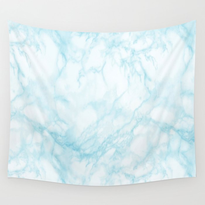 Elegant pastel blue white modern marble Wall Tapestry