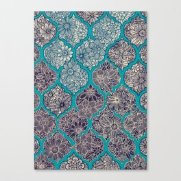 Moroccan Floral Lattice Arrangement - teal Canvas Print