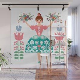 Scandinavian Flower Princess Wall Mural