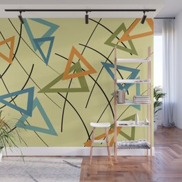 Mid Century Triangles Graphic - yellow Wall Mural