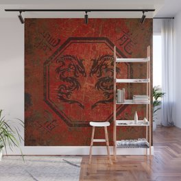 Distressed Dueling Dragons in Octagon Frame With Chinese Dragon Characters Wall Mural