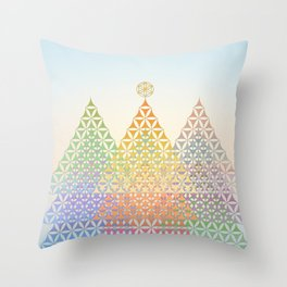 Flower of Life Pine Trees Throw Pillow