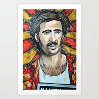 nicolas cage Art Prints featuring Raising Arizona Nicolas Cage by Portraits on the Periphery