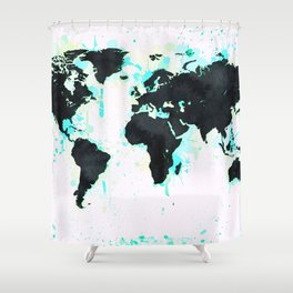 World Map Turquoise Paint and Black Ink Shower Curtain
