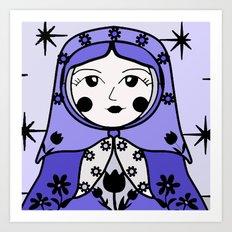 Matryoshka russian doll colorful illustration wall decor - Masha Art Print