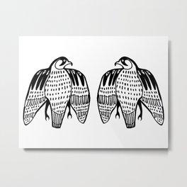 Twin Falcons Black Line Drawing Metal Print