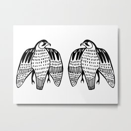 Twin Falcons Black Line Drawing Metal Print