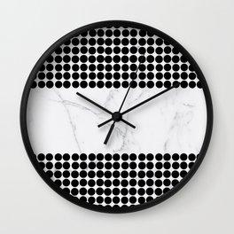 Black white polka dots modern marble pattern Wall Clock