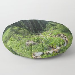 Mount Rainier Adventure IV - Pacific Northwest Mountain Forest Wanderlust Floor Pillow