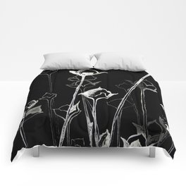 Graphic art. White ink and black cardboard. Flowers Comforters