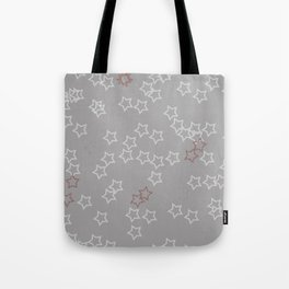 White and Red Stars on Gray Tote Bag