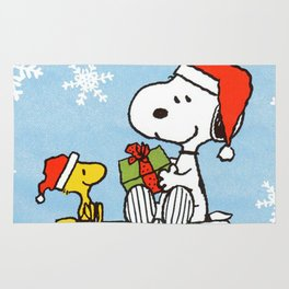 snoopy and woodstock christmas in home Rug