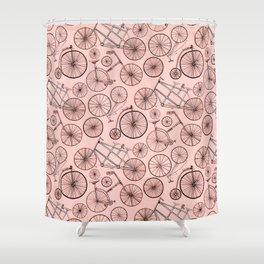 Monochroem Vintage Biycles On Coral Pink Shower Curtain