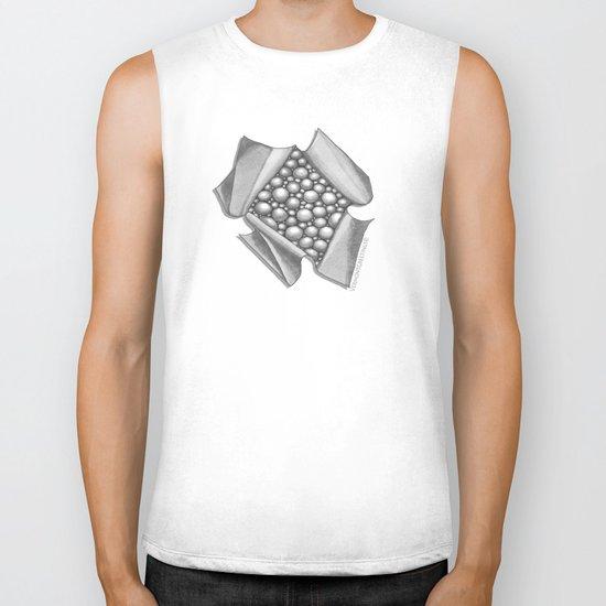 Zentangle 3D Box of Balls Black and White Illustration Biker Tank