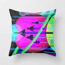 NASA Outer Space Saturn Shuttle Retro Poster Futuristic Explorer Black Best Quality Throw Pillow