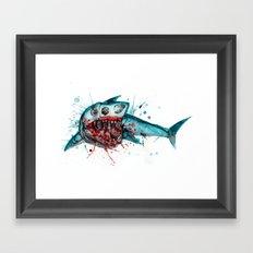 Shark Skeleton Watercolor/Pen&Ink Framed Art Print