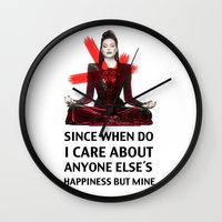 evil queen Wall Clocks featuring Evil Queen Quotes by Geek World