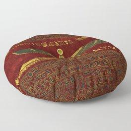 Golden Egyptian God Ornament on red leather Floor Pillow