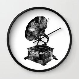 GRAMOPHONE, black and white Wall Clock