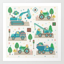 Truck monsters Art Print