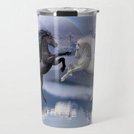 Horses and Moon Travel Mug