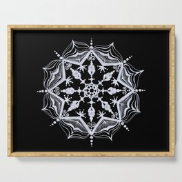 Snowflake on Black Serving Tray