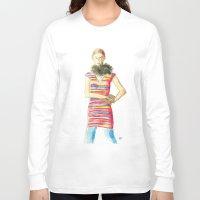 striped Long Sleeve T-shirts featuring Striped Dress by Pani Grafik