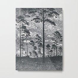 Albert König (1881-1944) - Kiefern Black And White Landscape Ink Art Metal Print