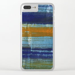 Yellow-blue abstract art Clear iPhone Case