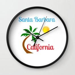 Santa Barbara California Palm Tree and Sun Wall Clock