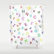 Kids Alphabet Soup Shower Curtain/Duvet - White Shower Curtain