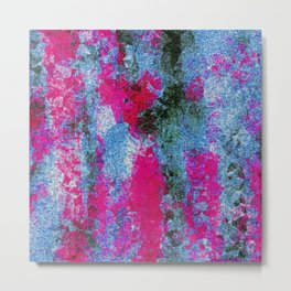 vintage psychedelic painting texture abstract in pink and blue with noise and grain Metal Print