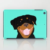 rottweiler iPad Cases featuring Rottweiler graphic on Mint by Moni & Dog
