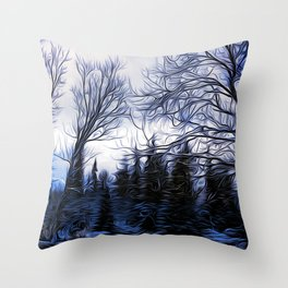 Winter Trees In Sweden Throw Pillow