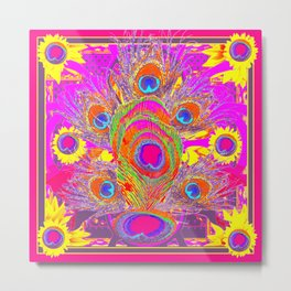 Peacock Inspired Decorative Pattern Yellow Fuchsia Pink Art Metal Print