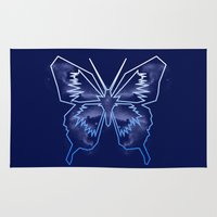 battlestar galactica Area & Throw Rugs featuring Galactica Blue Butterfly by Tiffany 10
