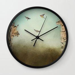 Watching the Waxwings Wall Clock